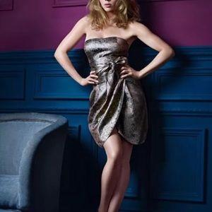 Rose gold jacquard skirt mango Scarlett Johansson